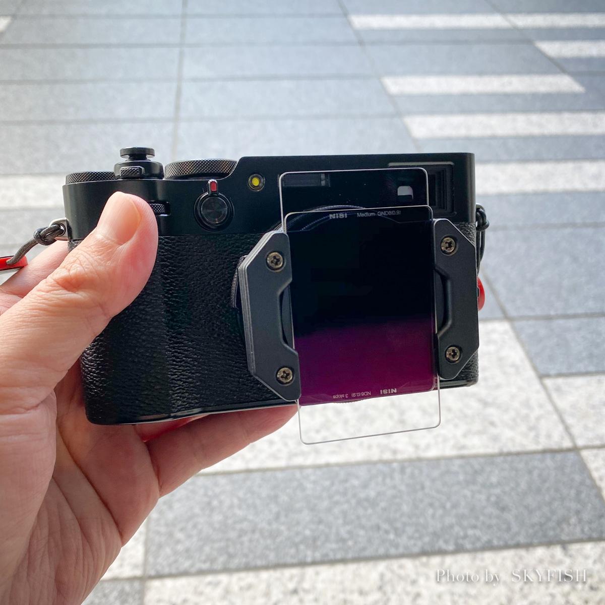 X100VとNiSiの角形レンズフィルター